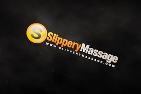Худенькая брюнетка делает массаж обнаженным телом богатому клиенту
